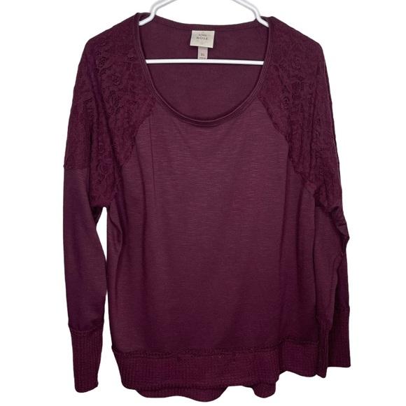 Knox Rose Burgundy Lace Detail Sweater XL